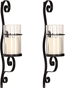 Adeco Iron and Glass 3D Scroll Design Vertical Wall Hanging Candle Holder Sconce