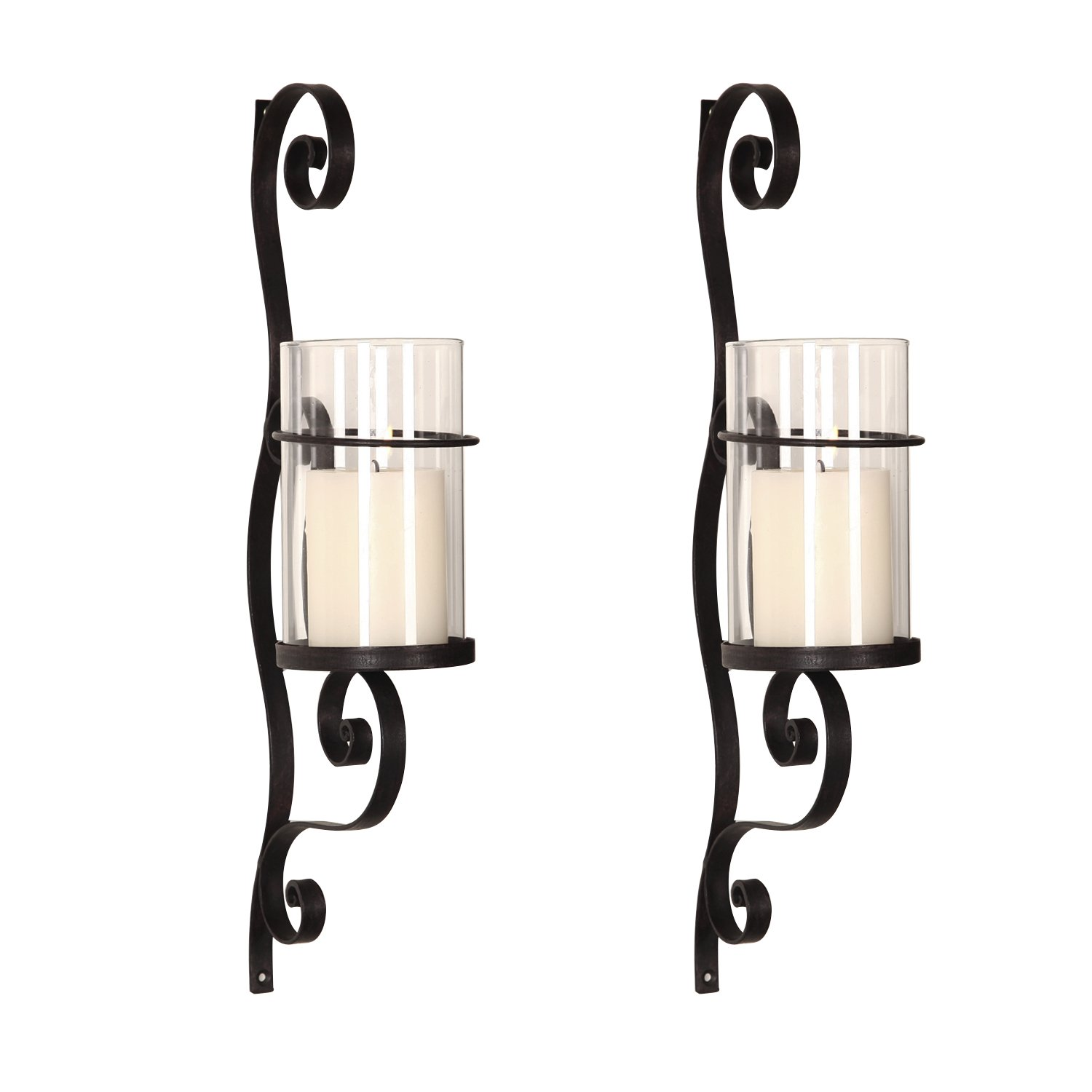 Adeco Iron and Glass Vertical Wall Hanging Candle Holder Sconce Holds One Pillar Candle 3-Dimensional Scroll Design