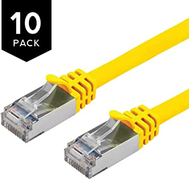 Buhbo 10 ft CAT7 Shielded RJ45 Ethernet Network Snagless Cable 10Gbps 600 MHz 10-Pack Yellow
