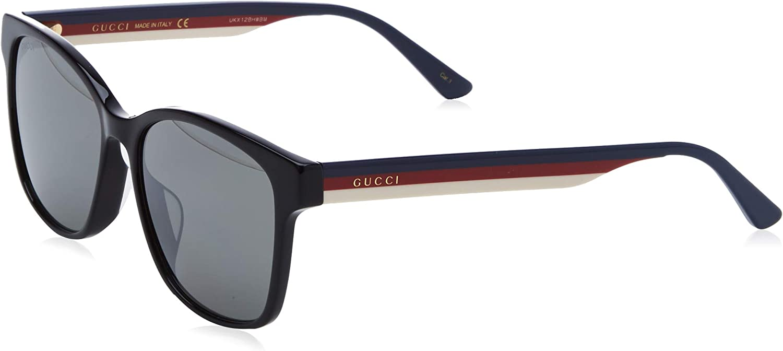 Gucci GG0417SK-002 Gafas de sol, Negro/Multicolor/Brillo, 56 Unisex