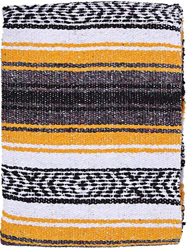 (El Paso Designs Genuine Mexican Falsa Blanket - Yoga Studio Blanket, Colorful, Soft Woven Serape Imported from Mexico (Yellow))