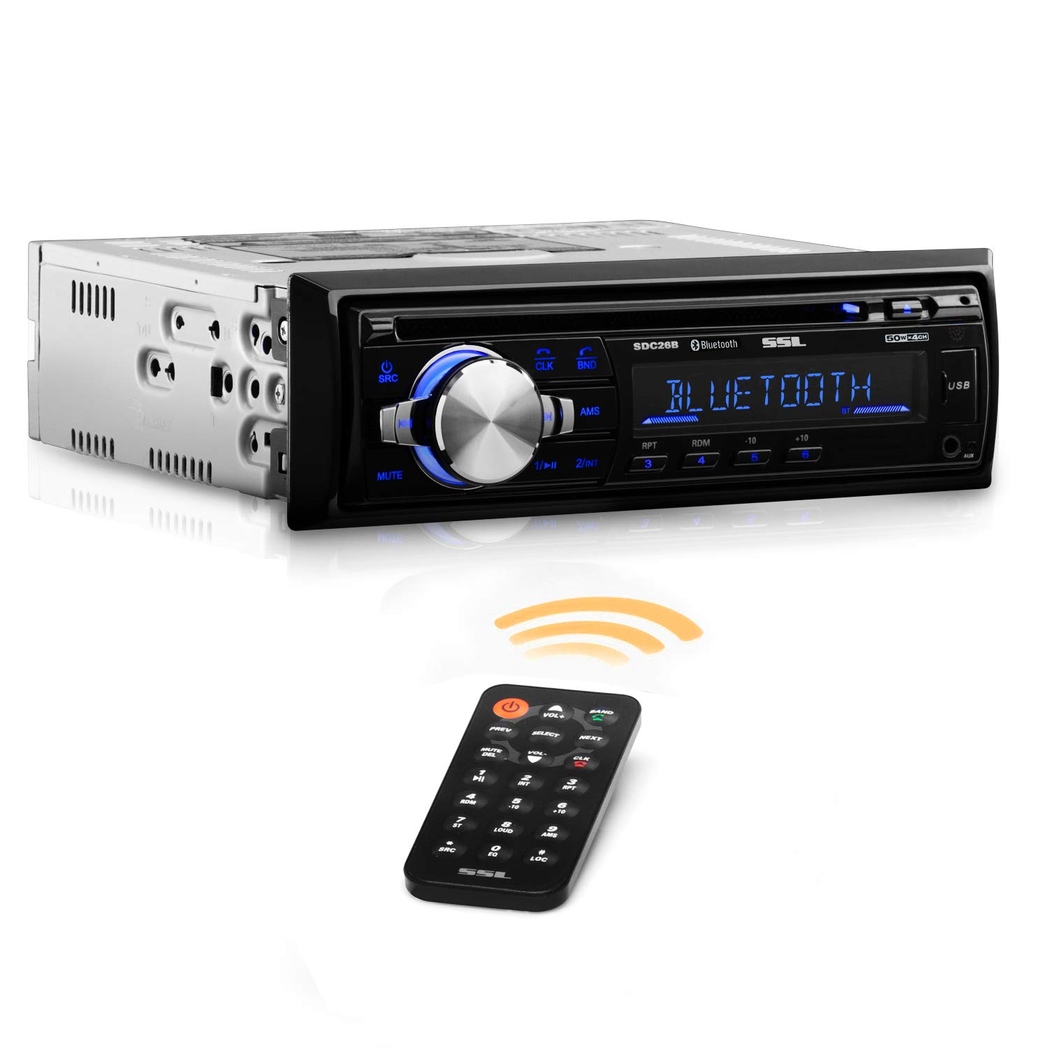 Sound Storm Labs SDC26B Car Stereo CD Player - Single Din  Bluetooth Audio and Hands Free Calling  MP3 Player  CD  USB Port  AUX Input  AMFM Radio Receiver by Sound Storm Laboratories