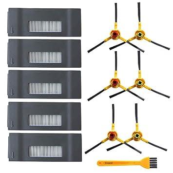 Repuestos para Ecovacs DEEBOT M80 M80 Pro Ecovacs Deebot DT85 DT83 DM81 Robot aspirador DM85 Kit de accesorios 5 piezas Hepa Filtros 6 piezas Cepillos ...