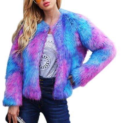 Fancylande Pelo sintético Abrigo Mujer, Mujeres Pelo sintético Color Abrigo de Navidad Abrigo de Pieles