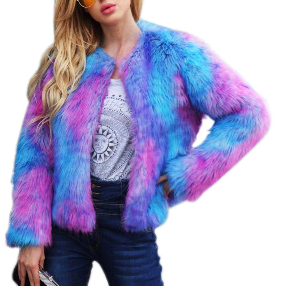 fancystar Womens Faux Fur Long Sleeve Coat, Fashionable Colorful Lapel Shaggy Outwear Autumn Winter Elegant Warm Jacket