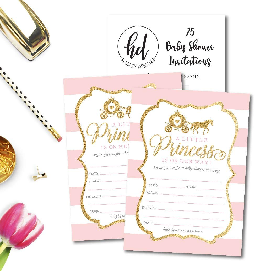 25 Little Princess Baby Shower Invitations, Pink & Gold Sprinkle Invite for Girl, Modern Gender Theme On Her Way, Cute Printed Fill or Write in Blank Printable Card Unique Coed Party Supplies by Hadley Designs (Image #4)