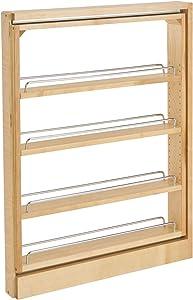 Rev-A-Shelf 432-BFBBSC-3C 3-Inch Base Cabinet Filler Soft Close Pullout Kitchen Wooden Spice Rack Holder Shelves for Storage Organization