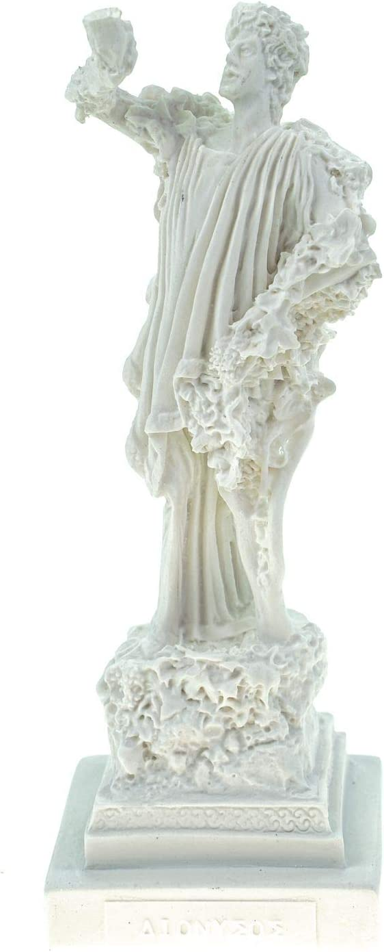 Alabaster Deko Figur Dionysos Gott des Weins 16 cm Skulptur Statue wei/ß Bacchus