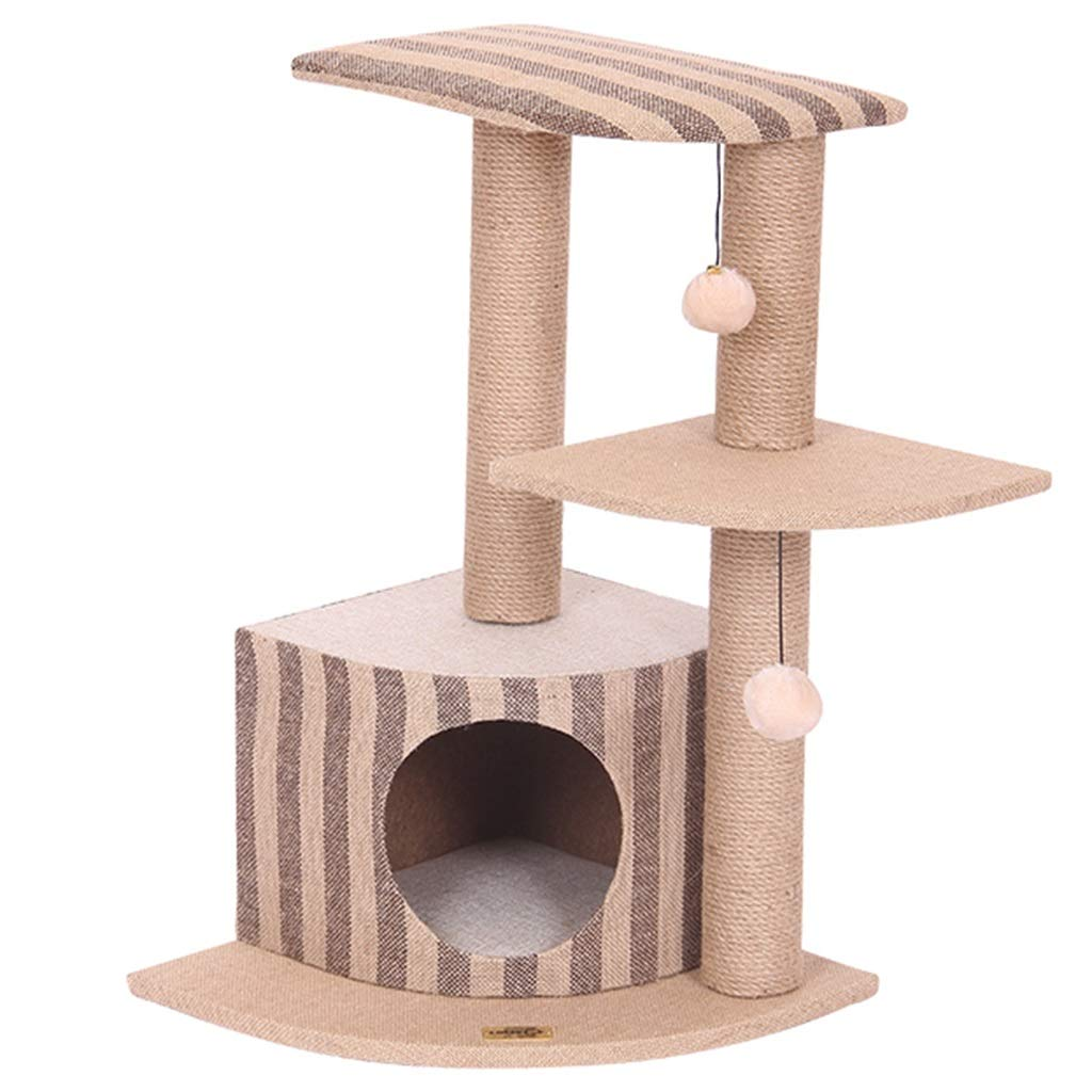 Brown 404068cm Brown 404068cm Cat Caves & Houses Cat House Three-layer Cat Climbing Frame Cat Tree Cat Scratch Board Cat Jumping Platform Cat Litter Cat Supplies (color   Brown, Size   40  40  68cm)