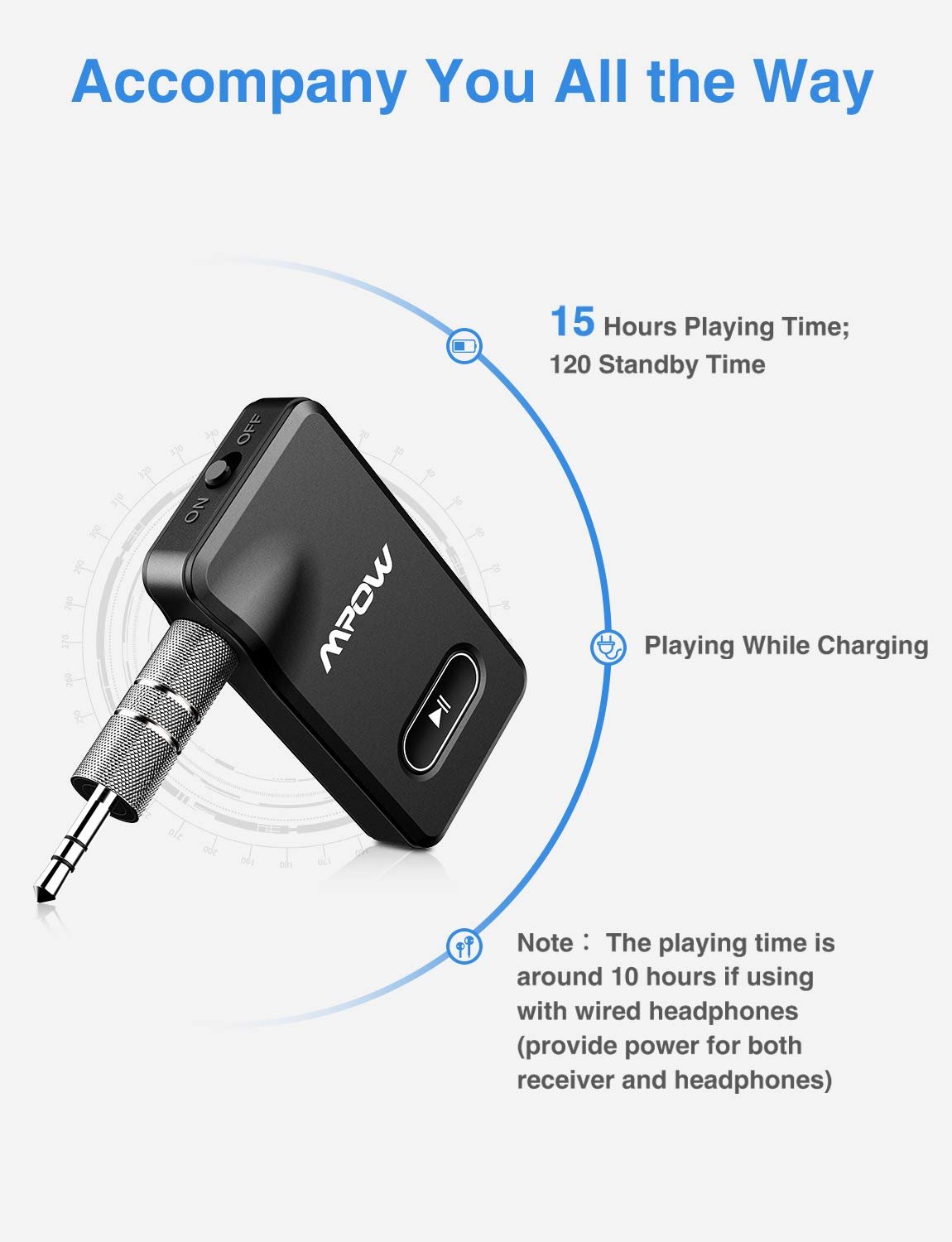 Mpow BH129 Bluetooth Receiver with CSR Chip for Better Music Quality,15 Hours Long Playing Time Bluetooth Adapter, Wireless Audio Car Kits with 1 Second Turn On/Off Button (Dual Link, Voice Assistant) by Mpow (Image #3)