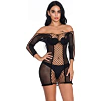 YLei Sexy Lingerie Womens Sexy Sleeved Hips Fishnet Skirt Perspective Sexy Pajamas Fishnet Bodysuits Sleepwear Sexy…