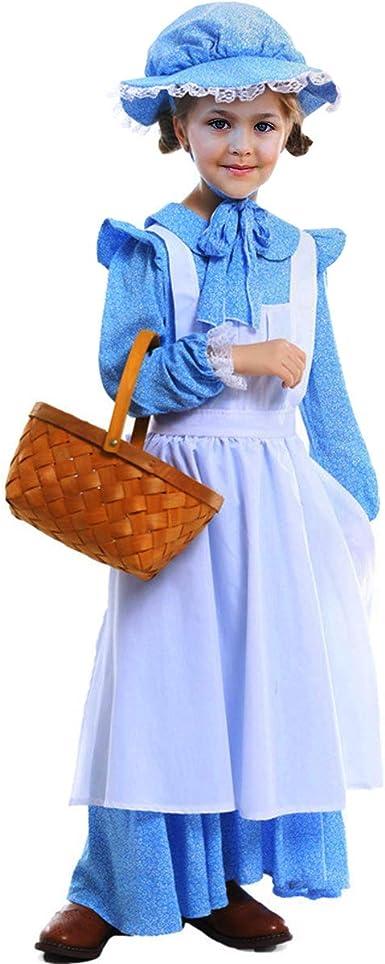 Disfraz de pionero colonial medieval para niñas, vestido de ...
