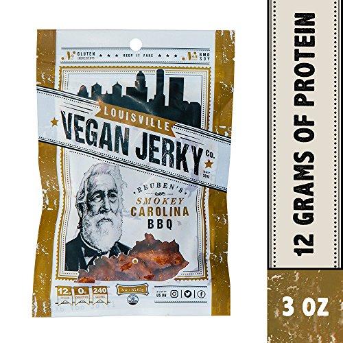 Louisville Vegan Jerky - Smokey Carolina BBQ, Vegetarian & Vegan Friendly Jerky, 9 Grams of Non-GMO Soy Protein, Gluten-Free Ingredients (3 (Vegan Jerky)