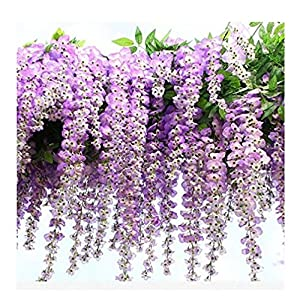 FatColo 12-Piece Artificial Wisteria Vine Ratta Silk Flowers, 3.4-Feet, Purple 30