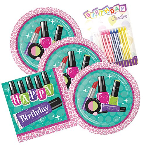 - Teen Sparkle Spa Happy Birthday Theme Plates and Napkins Serves 16 With Birthday Candles