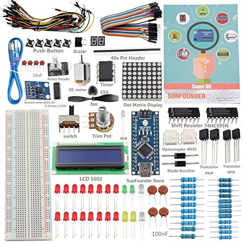 (SunFounder New Nano Project Super Starter Kit V2.0 For Arduino UNO R3 Mega2560 Mega328 Nano - Including 73 Page Instructions Book)