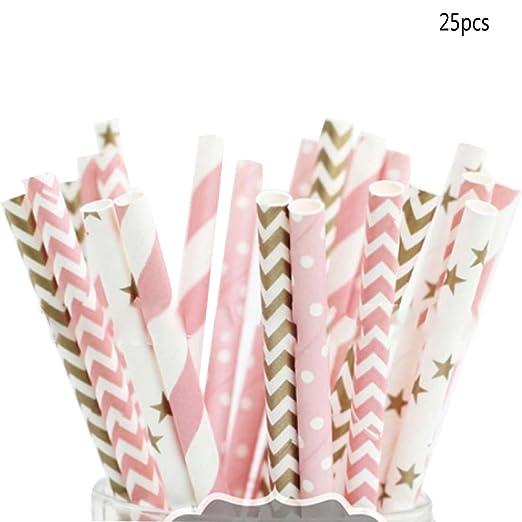 25pcs pajitas rosa oro rayas Mixed Kids cumpleaños boda ...