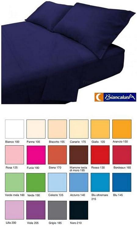 Misure Lenzuola Matrimoniali.Completo Lenzuola Art Colored Tinta Unita Biancaluna Matrimoniale