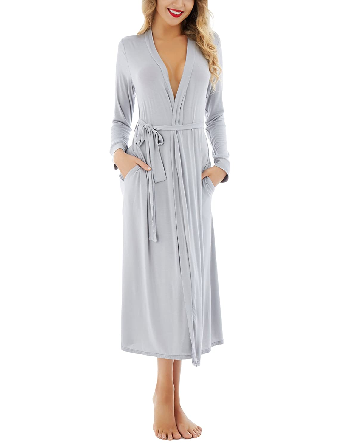 Dromild Women Robe Soft Modal Bathrobe Cotton Kimono Long Sleepwear Lounge wear S-XXL AM7449