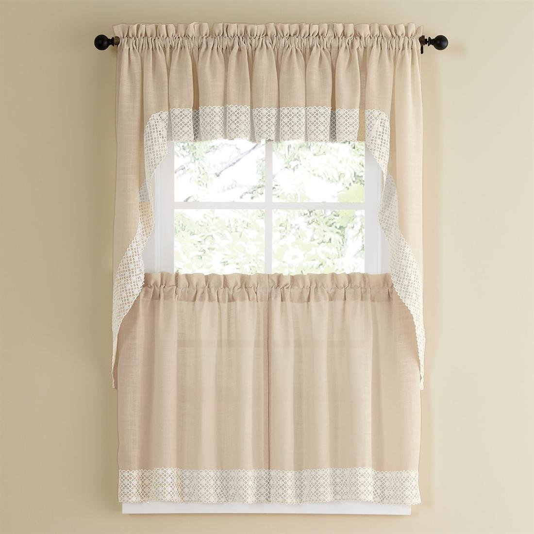 Sweet Home Collection 5 Pc Kitchen Curtain Set - Valance Swag Choice of 24'' or 36'' Tier Pair, Salem French Vanilla