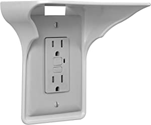 Power Perch Single Wall Outlet Shelf. Home Wall Shelf Organizer for Outlets. Perfect for Bathroom, Kitchen, Bedrooms with Cord Management and Easy Installation. White 4-Pack