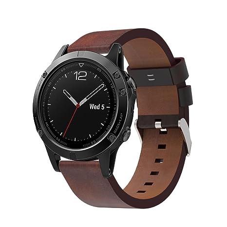 TPulling Bracelet en cuir étanche haut de gamme de rechange pour montre connectée Garmin Fenix 5: Amazon.fr: Sports et Loisirs