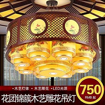 China sólido madera clásico restaurante pergamino lámpara led lujo hotel restaurante luces restaurante caja tallada focos
