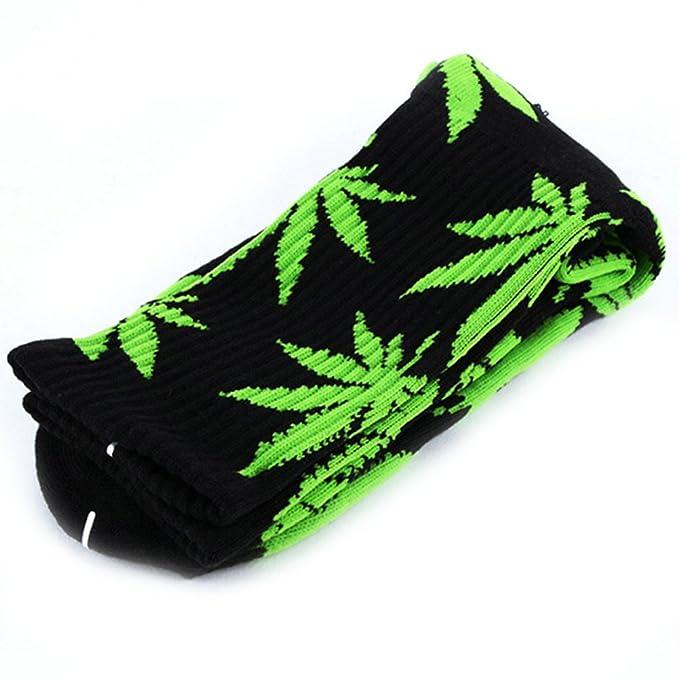 Calcetines altos unisex, de la marca Zehui, con diseño de hojas de marihuana Black+Fluorescenct Talla única: Amazon.es: Libros