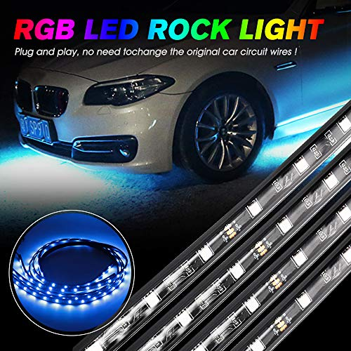 NOVSIGHT Car RGB LED Neon Accent Strip Lights Kit Underglow Underbody System Glow Lighting Strips Light w/Sound Active Function Wireless Remote Control Waterproof Vehicle LED Atmosphere Lamp