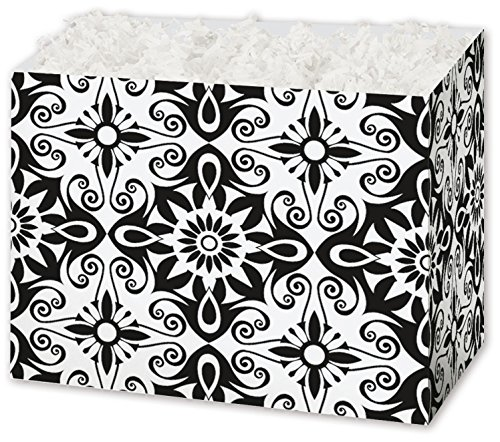 (Patterned Specialty & Event Boxes - Black & White Medallions Gift Basket Boxes, 6 3/4 x 4 x 5
