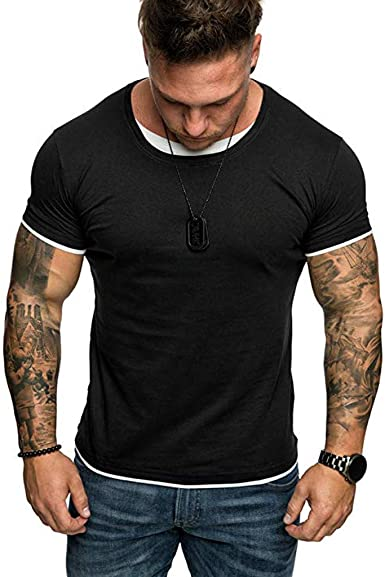 Hot!Mens 3D Printing T-Shirt Ninasill Breathable Monochrome Short Sleeve Round Neck Tops Casual Sporty Summer Blouses