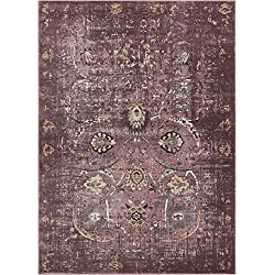 "Well Woven Elle Lavender Persian Vintage Shiraz 8x11 (7'10'' x 10'6"") Area Rug Purple Modern Distressed Oriental Carpet"