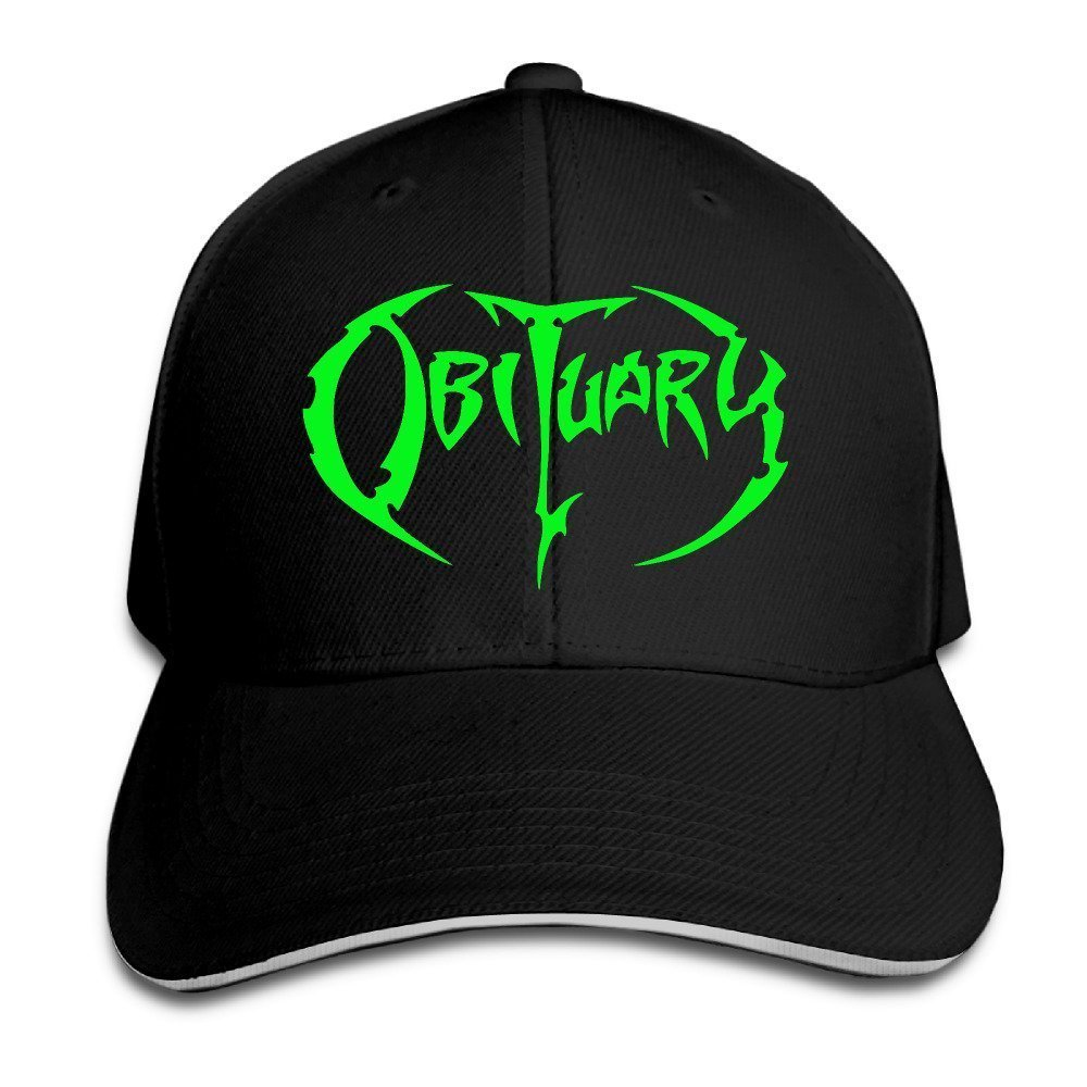 Yhsuk Obituary Band Sandwich Peaked Hat//Cap Black