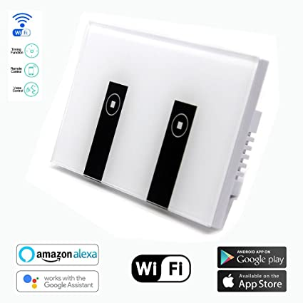 Smart Switch OMAGAX WIFI Smart Wall Light Switch 2 Gang Wireless in Wall  Switch Glass Touch Panel Plate Compatible with Alexa Echo Google Home  Remote