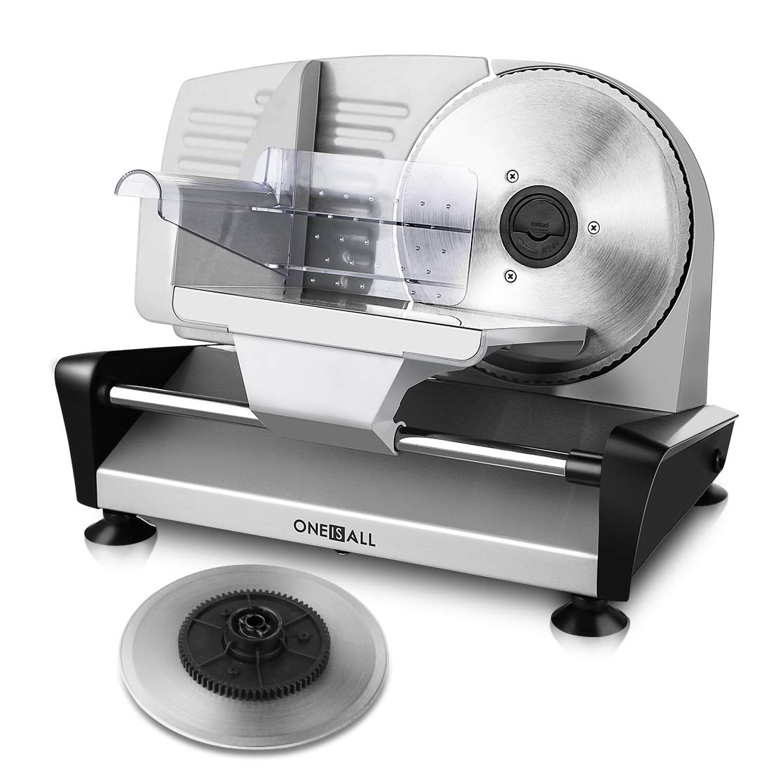 Meat Slicer Electric Deli Food Slicer with 2 Interchangeable Blades, Oneisall Removable 7.5'' Stainless Steel Blade & Food Carriage, Precisely Adjustable Thickness Cuts Meat, Non-Slip Feet (150W) by oneisall