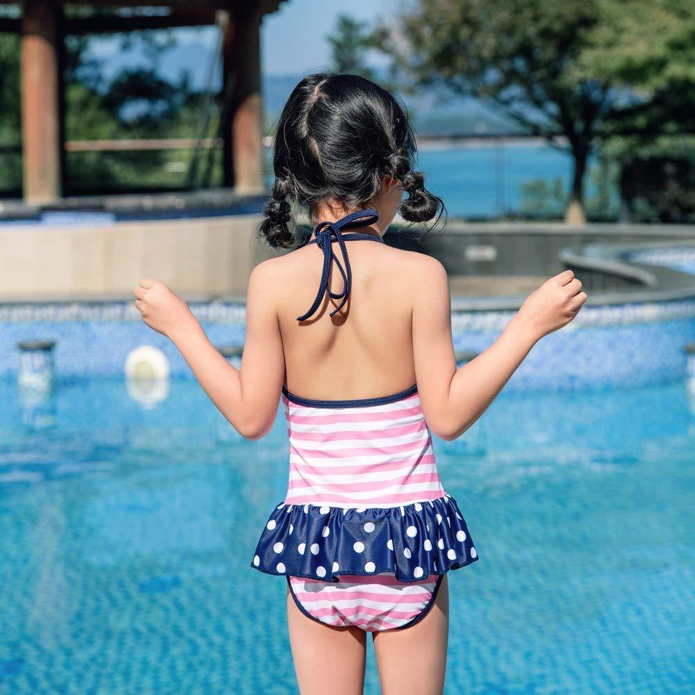 Toddler Girls Stripe Dot Princess Sunsuit Rashguard Cute One Piece Ruffles Backless Bikini Dress Halter Swimwear