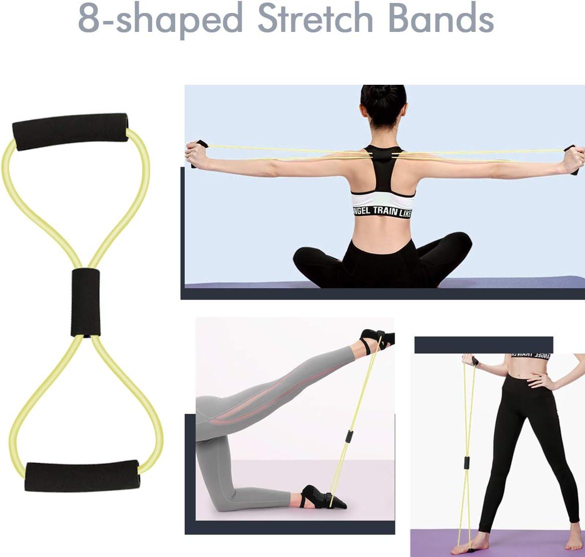 ventre accessoires de gymnastique pour bras yoga, pilates, parfait pour les squats. fessier Lot de 12 bandes de r/ésistance MHSY pour exercices de musculation poitrine dos jambes