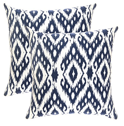 TreeWool, (2 Pack) Throw Pillow Covers Ogee Ikat Diamond Accent in Cotton Canvas (18 x 18 Inches; Navy Blue) - Ikat Throw Pillow