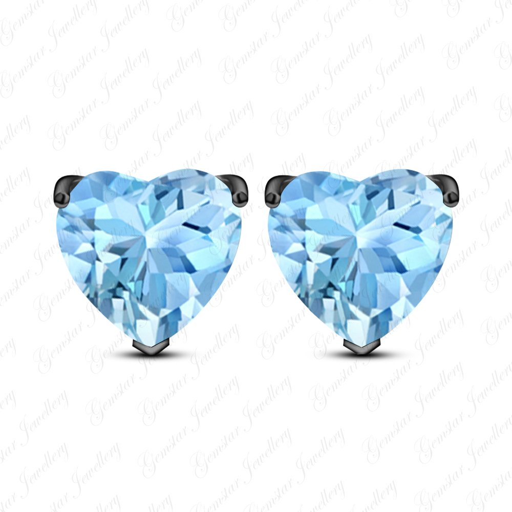 Gemstar Jewellery Heart Cut Aquamarine Solitaire Engagement Stud Earrings In 18k Black Gold Plated