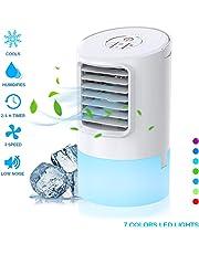 Nobebird Climatiseur Portable, 3 en 1 Refroidisseur d'air Evaporatif, Humidificateur, Ventilateur de Personnel avec 3 Vitesses, 7 LED Couleurs, 2/4h Timer Rapide à Utiliser pour Maison/Bureau