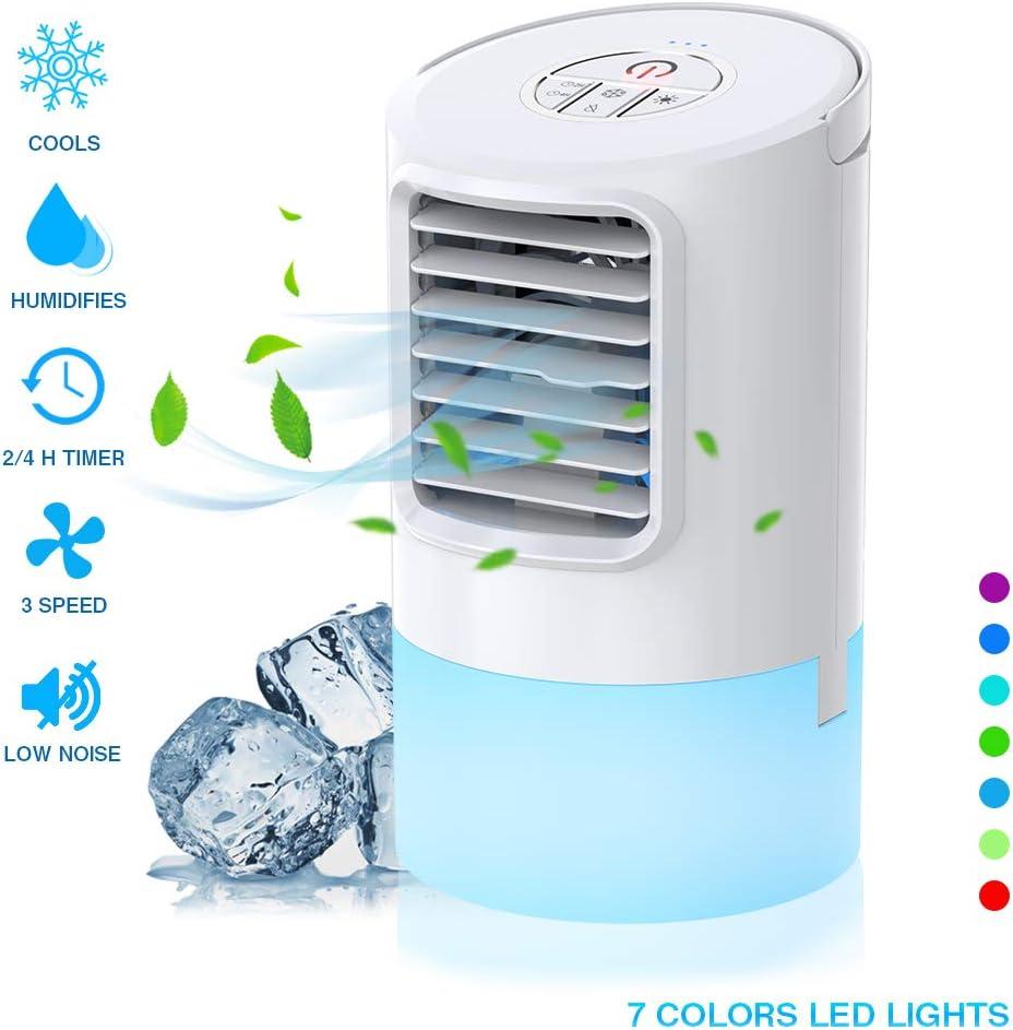 Nobebird Aire Acondicionado Portátil, Climatizador Evaporativo, 3 en 1 Mini Ventilador de Escritorio Humidificador Purificador de Aire Personal con 3 Velocidades y 7 Colores LED Luz Hogar/Oficina