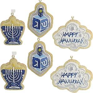 Kurt Adler Happy Hanukkah Soft Blue 2 inch Resin Decorative Hanging Ornament Boxed Set of 6