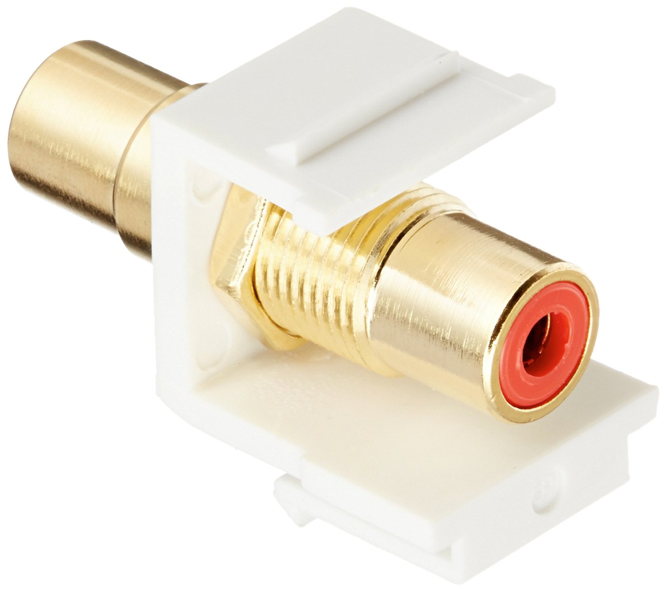 Monoprice 106548 Keystone Jack-Modular RCA with Red Center, White