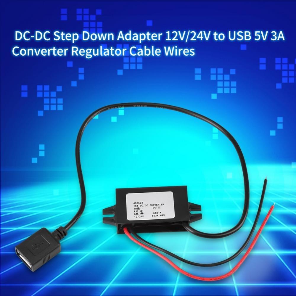 TOPINCN Netzteil Step-Down DC-DC intelligente Sicherheit 12 V 24 V auf USB 5 V 3 A Kabelregler 1 St/ück