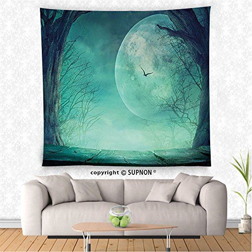 VROSELV custom tapestry Halloween Decorations Tapestry Spooky Forest Full Moon And VaIn Branches Mystical Haunted Horror Theme Rustic Decor Bedroom Living Room Dorm Decor (Hawaiian Halloween Music Cd)