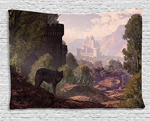 try by Ambesonne, A Wolf Coming Out Of The Woods With A Gothic Castle Lake Boat Off In The Distance, Wall Hanging for Bedroom Living Room Dorm, 80 W X 60 L Inch (Out Wall Tapestry)