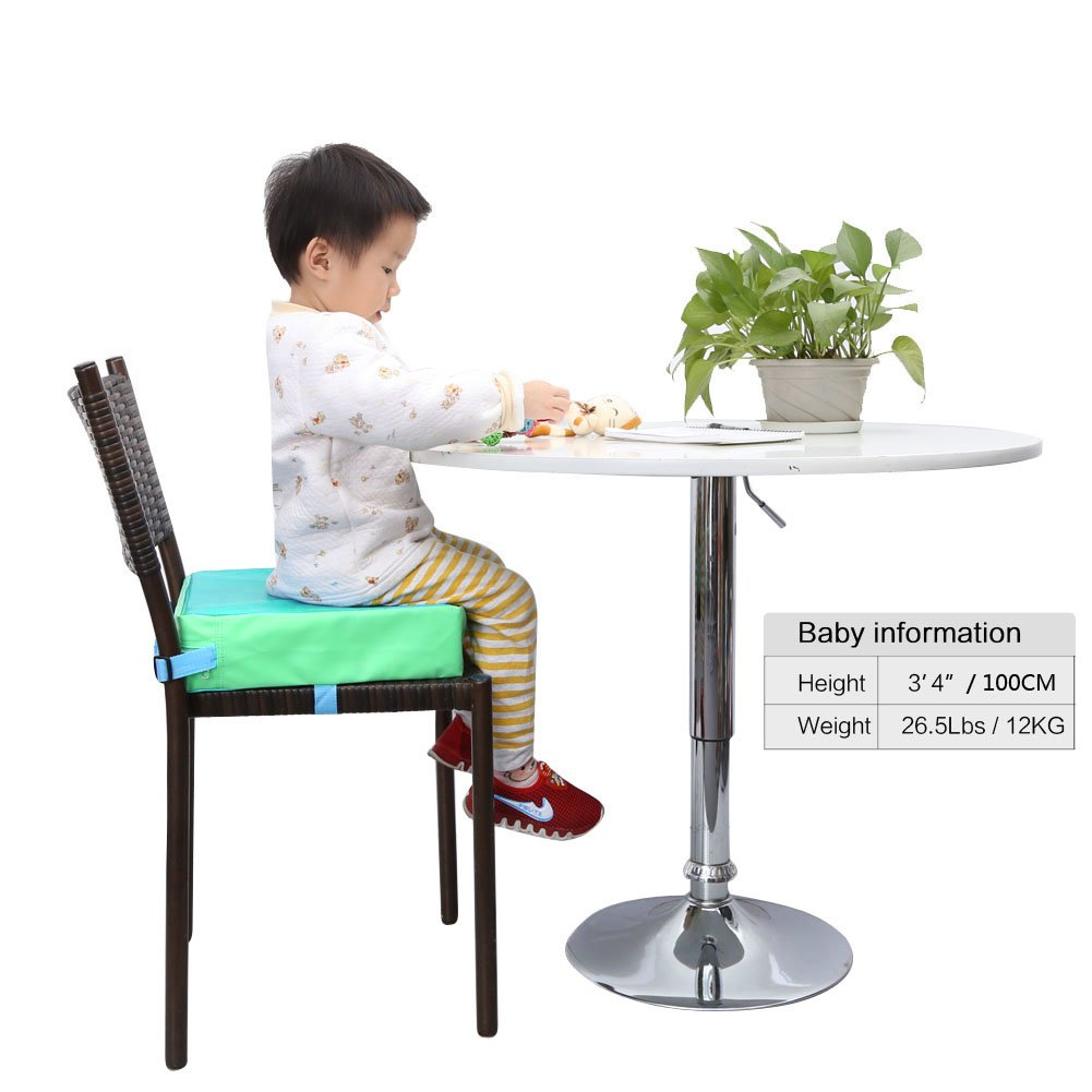 Zicac Kids Dining Chair Heightening Cushion Green Dismountable Adjustable Highchair Booster Cushion Washable Thick Chair Seat Pads Buckle Strap