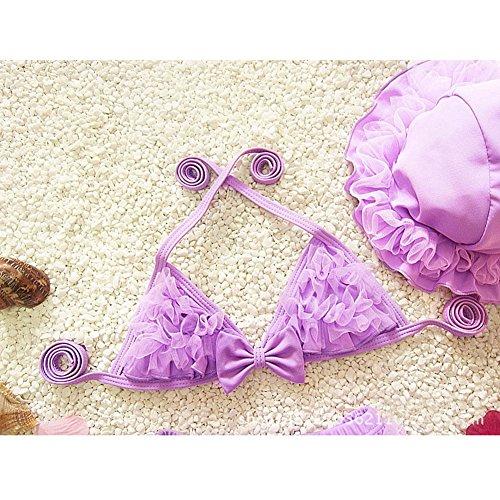 hibote Traje de los cabritos del cord¨®n de Nataci¨®n del bikin¨ª de las tres piezas traje de bano de los beb¨¦s del Bowknot del traje de bano de bano Bikinis C14
