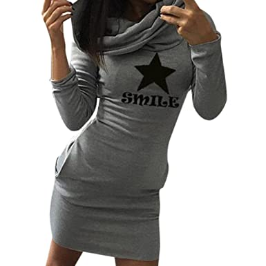 25d98d4095bd Kleid damen Kolylong® Frau herbst gedruckt pullover kleid mit kapuze Locker  Langarm Minikleid Party kleid