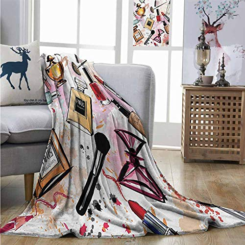 Homrkey Office Blanket Girls Cosmetic and Makeup Theme Pattern with Perfume Lipstick Nail Polish Brush Modern Lady Mini Couch Blanket W40 xL60 Multicolor (Enamel Basketball Mini)